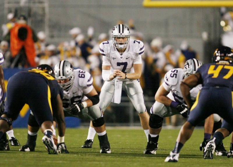 October 20 2012 Morgantown WV USA Kansas State Wildcats quarterback Collin Klein 7 waits for the snap from center against the West Virginia Mountaineers during the first quarter at Milan Puskar Stadium. The Kansas State Wildcats won 55 14. Mandatory Credit Charles LeClaire US PRESSWIRE