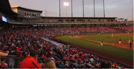The Cowboys and Sooners face off at ONEOK Field in 2012. At least one conference Bedlam game has been played in Tulsa since 1991. Photo courtesy of MiLB.com.