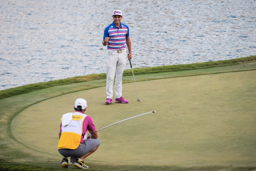 PONTE VEDRA BEACH, FL - MAY 10:  Rickie Fowler celebrates after making the winning birdie putt during sudden death on the 17th hole green during the final round of THE PLAYERS Championship on THE PLAYERS Stadium Course at TPC Sawgrass on May 10, 2015 in Ponte Vedra Beach, Florida. (Photo by Chris Condon/PGA TOUR)