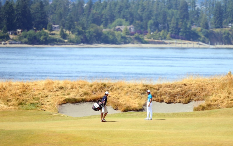 Rickie Fowler checks out the Puget Sound (Credit: Getty)