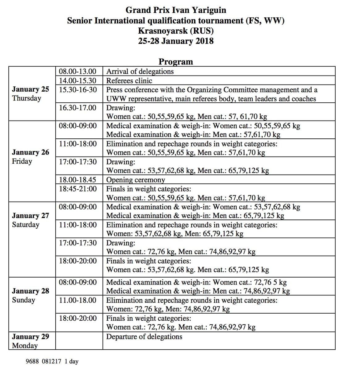 Yarygin Schedule