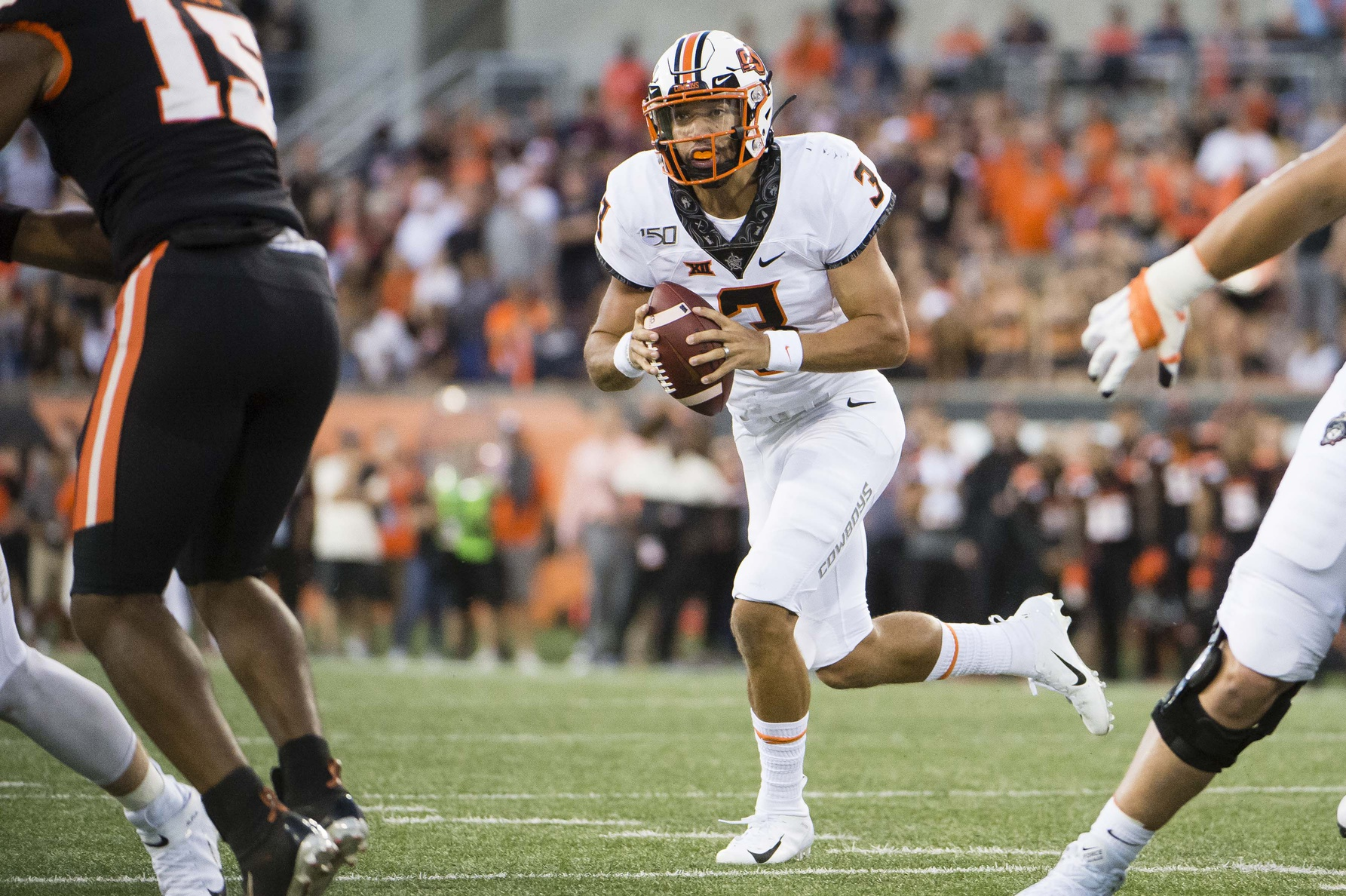 Spencer Sanders' Night Compares Well to Other OSU Quarterback Debuts | Pistols Firing