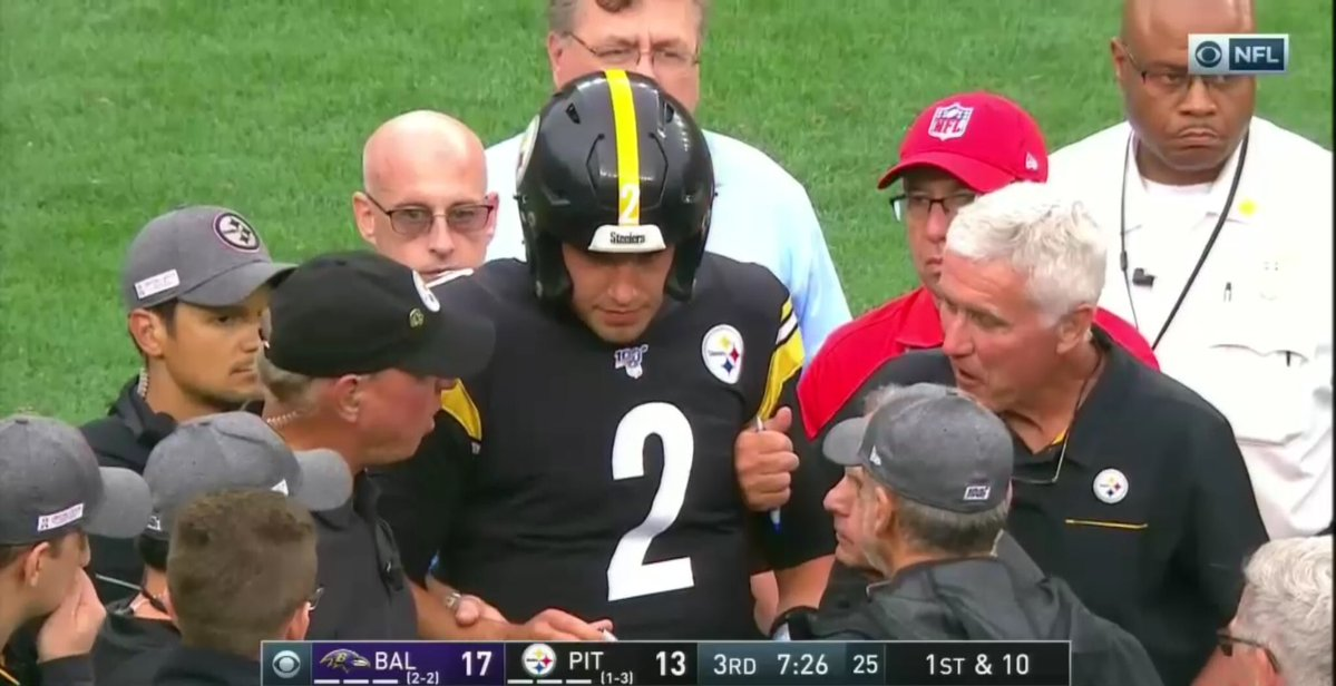 Mason Rudolph Knocked Unconscious Walks Off Field In Game With Ravens Pistols Firing